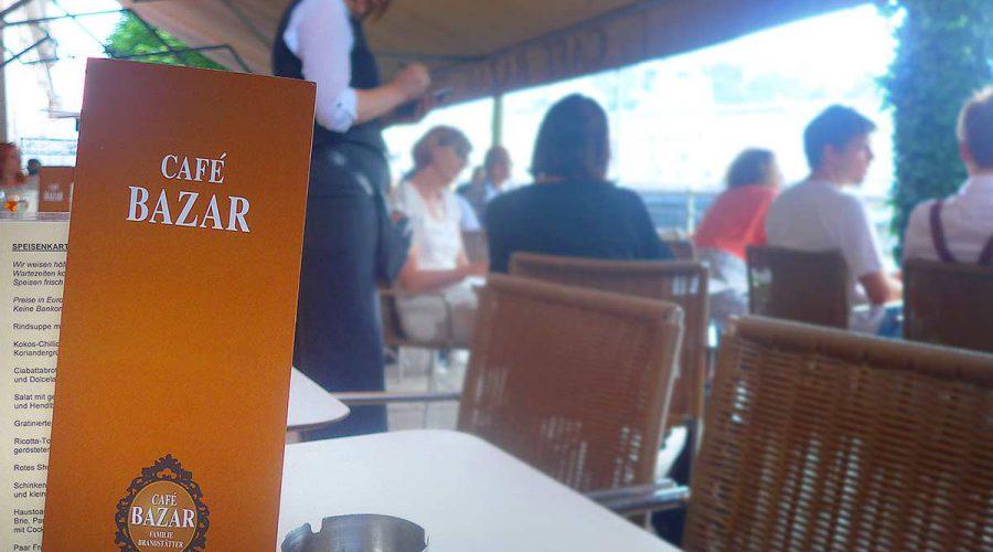 Menu from the Bazar cafe in Salzburg
