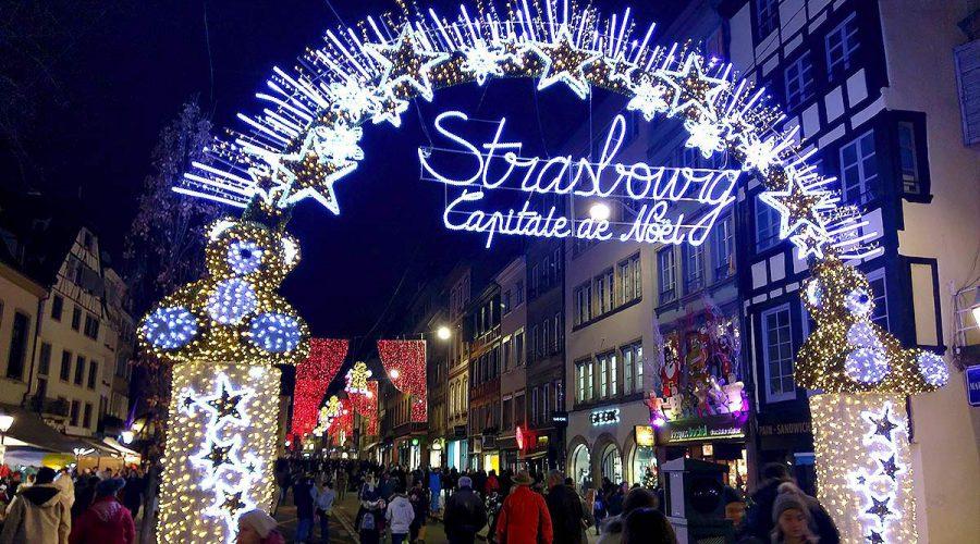 Xmas market entrance in Strasbourg